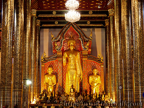 The big statue of a standing Buddha in the Main Prayer Hall