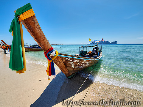 the Long Tail Boat on the Long beach
