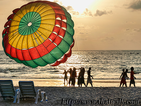 Daytime at Patong Beach - parasailing