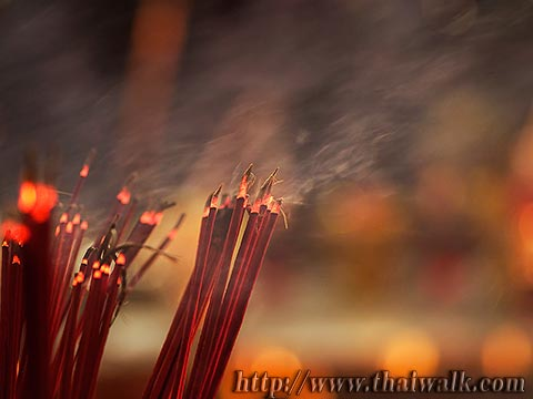 Trimurti Shrine No.15 - the red incense sticks