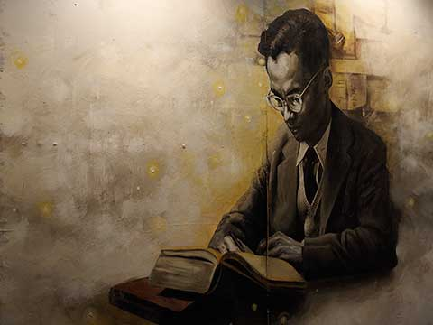 King Bhumibol Adulyadej - the wall painting (3)